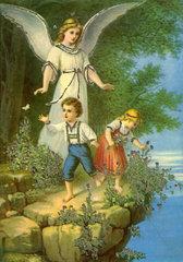 Schutzengel behuetet Kinder  1910