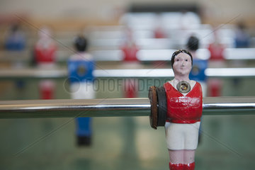 Foosball table  close-up