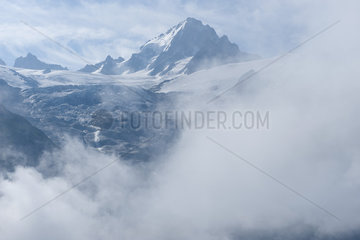 Snow-capped mountain and glacier