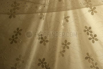 Fabric emroidered with floral pattern