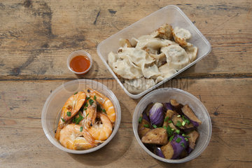 Take-out food in plastic containers