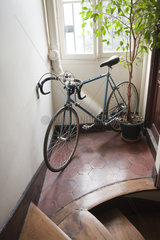 Bicycle parked in corridor