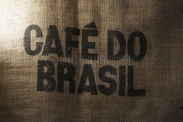 Burlap Brazilian coffee bag  close-up