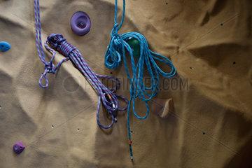 Ropes on climbing wall