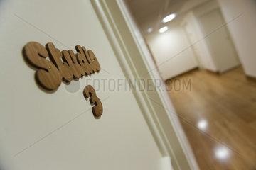 Studio 3 sign hanging in corridor