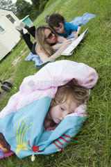 Family relaxing outdoors