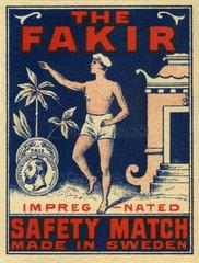 indischer Fakir  Streichholzetikett  1900