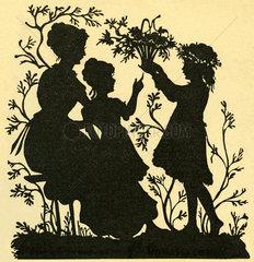 Maedchen schenkt der Mutter Blumen  1894
