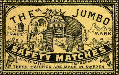 altes Streichholzetikett  Schweden  1900
