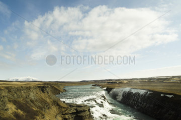 Icelandic waterfalls in the Golden Circle  Iceland Gullfoss