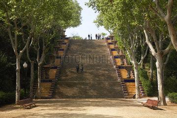 Barcelona (Spain) - Park Montjuic - Grand Stairs