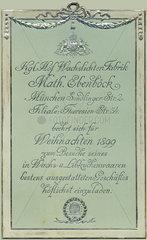 Kerzenfabrik  Einladung zum Weihnachtseinkauf  1899