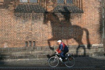 Mann auf Fahrrad neben Schatten eines Pferdes mit Reiter