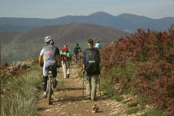 Radfahrer ueberholen Wanderer auf dem Jakobsweg - Camino de Santiago