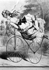 Frau mit Fahrrad  1900