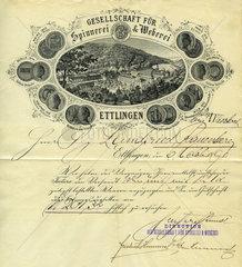 Gesellschaft fuer Spinnerei und Weberei  historischer Geschaeftsbrief  1890