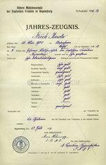 Zeugnis  Jahreszeugnis  1917