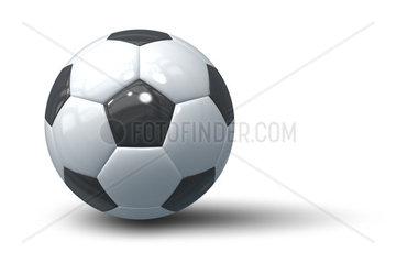 Ein Fussball auf weissem Grund