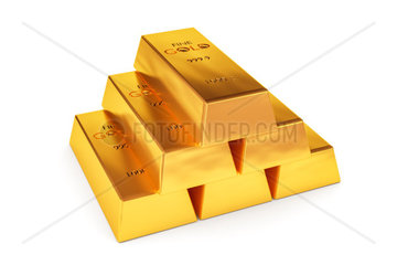 Ein Stapel Goldbarren vor weissem Grund