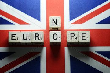 Fahne von Grossbritannien und Schriftzug No Europe  Diskussion um EU-Austritt