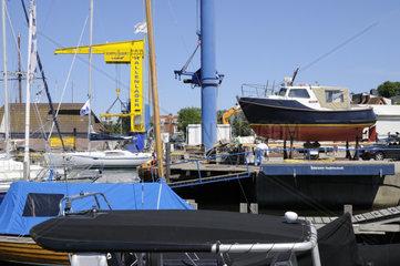 Bootswerft in Laboe  Schleswig Holstein  Deutschland  Europa