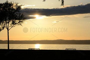 Sonnenuntergang am Neusiedlersee in Burgenland