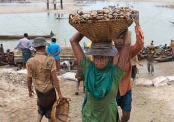 Labourers work at Bholagonj Stone Quarry