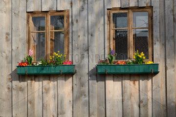rustikale Holzfenster und Blumenschmuck