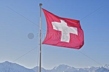 Flatternde Schweizerfahne mit weissen Berggipfeln im Hintergrund