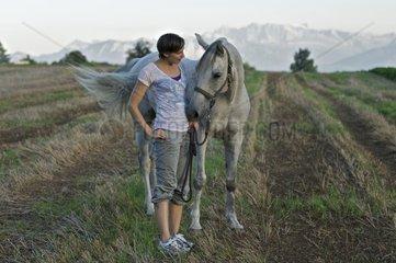 junge frau mit Araber pferd in spaeter nachmittags sonne auf abgemaehtem stoppelfeld