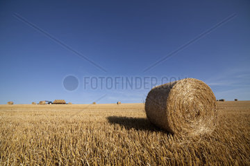 Straw bale with tractor in backround. Wideangle shot