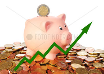 green diagram upwards with piggy bank