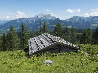 Dach einer Huette in den Alpen