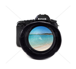 Digital photo camera isolated on white background