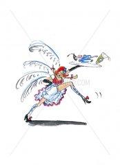 Franzoesin serviert und tanzt