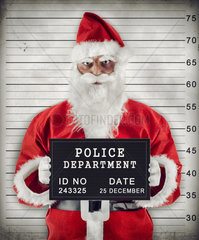 Mugshot of Santa Claus criminal under arrest