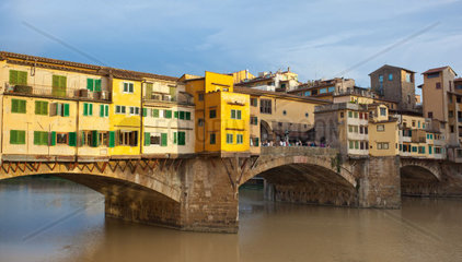 Side view at sunset of Ponte Vecchio in Florence  Italy