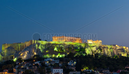 View on Acropolis at night  Athens  Greece