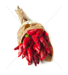 Bunch of fresh small red pepper isolated on white background