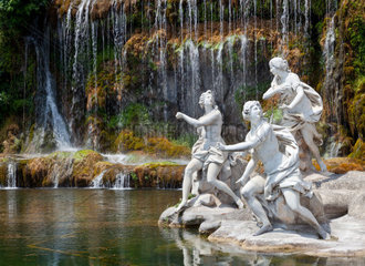 Fountain of Diana and Actaeon and The Big Waterfal Mythological statues of nymphs in the garden Royal Palace in Caserta