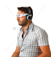 Portrait Of A Young Man Wearing 3d Glasses and headphones