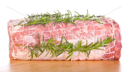 Raw chine of pork on white background