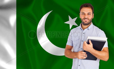 Young smiling student learns the pakistani language