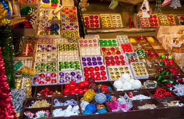 Decorations for sale in Christmas market  Munich  Germany