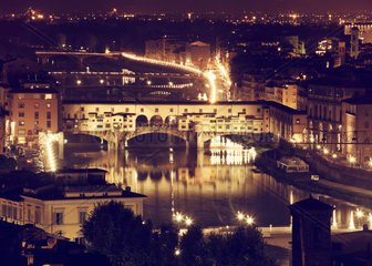 Florence  Arno River and Ponte Vecchio by night  Italy