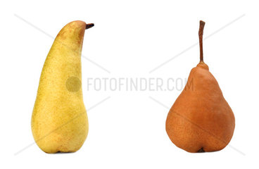 Beautiful ripe yellow and brown pear on white background