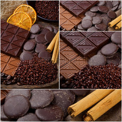 Chocolate collage of various type with cinnamon