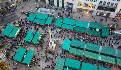 Aerial view of christmas markets in Munich  Germany