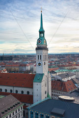Tower of St Peter's Church  Munich  Bavaria  Germany