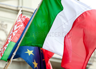 Italian flag waving with europe flash